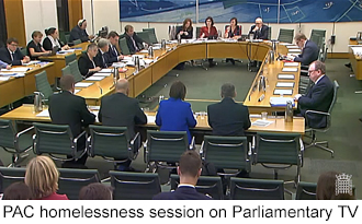 PAC session on homelessnessand link to it on Parliamentary TV