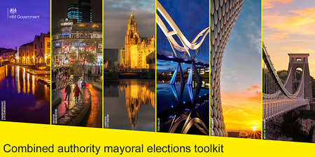 Images of the 6 mayoral cities shown on the cover of the election toolkit for combined authorities to use