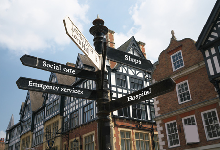Street sign pointing to range of local government services