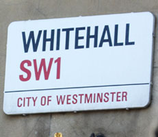 Road sign: Whitehall SW1
