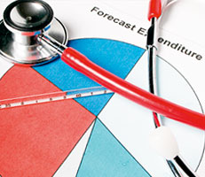 Stethoscope and financial forecast