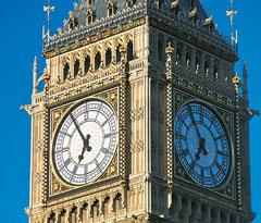 Big Ben tower clock face