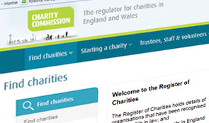 Charity Commission home page