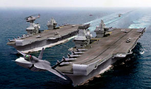 F35 fighters launching from two aircraft carriers at sea