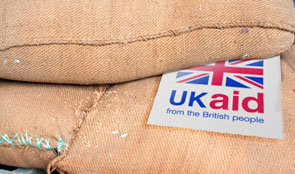 Bag of rice with UK aid logo