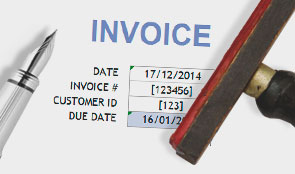 Invoice being stamped