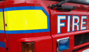 Side panel of a fire engine