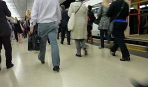 Commuters on train platform