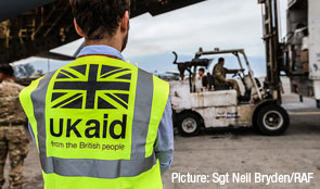 British aid worker wearing a high visibility jacket