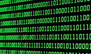 Monitor showing binary data