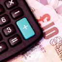 calculator on a ten pound note