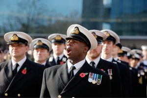 Royal Navy officers at a Remembrance parade