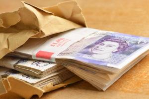 Bundles of £20 pound notes
